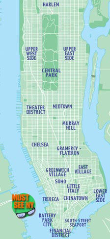 New York City Attractions Map Location maps of Must See NYC sights